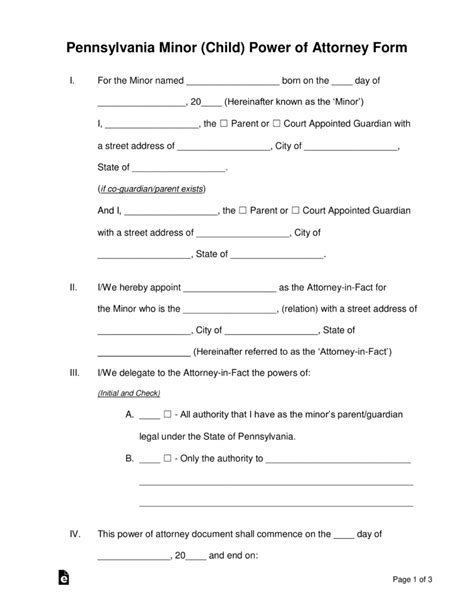 permanent guardianship letter template free pennsylvania guardian of minor power of attorney form pdf word eforms free fillable