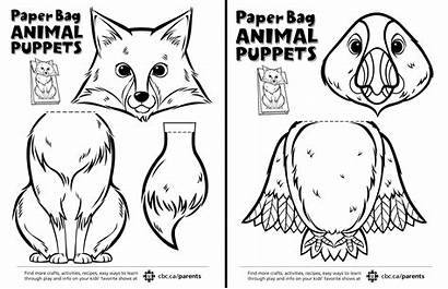 Puppets Paper Bag Animal Canadian Puppet Printable