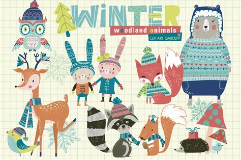 winter woodland animals illustrations creative market