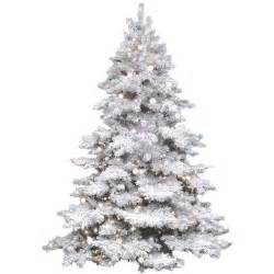 vickerman flocked alaskan 7 5 39 white artificial tree with 800 clear lights with stand