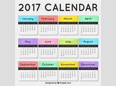 Calendario 2017 con meses de colores Descargar Vectores