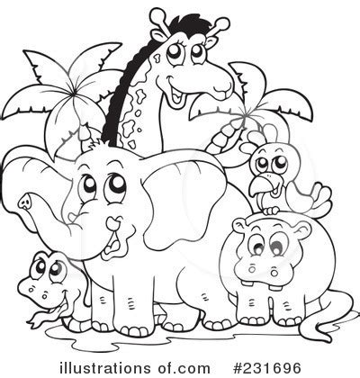 Baby elephant clipart black and white. Animals Clipart #231696 - Illustration by visekart