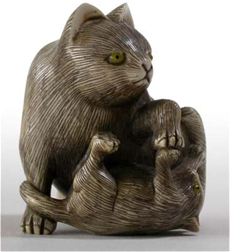 Nice boxwood netsuke showing a bat, hand carved from boxwood and siogned by the artist. Japanese Cat and Kitten Ivory Netsuke Signed Koetsu