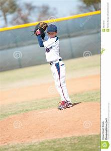 Little League Pitcher Starting His Wind Up. Stock Photo ...