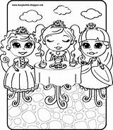 Tea Coloring Pages Boston Princess sketch template