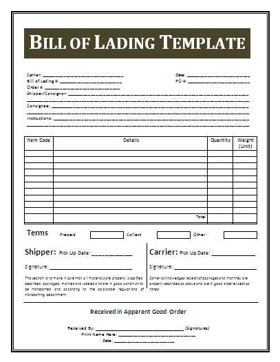 free bill of lading template bill receipt format free business templates