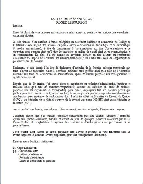 Lettre De Cv by Exemple Cv Lettre De Presentation