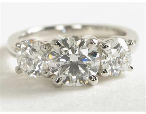Classic Threestone Diamond Engagement Ring In Platinum
