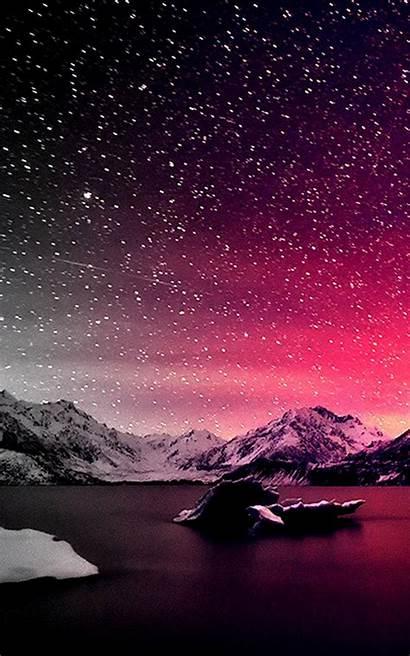 Sky Night Pink Starry Wallpapers Mobile Desktop