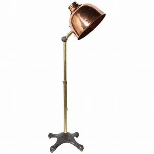 Circa 1910 large adjustable infralite brass steel and for Brass floor lamp made in usa