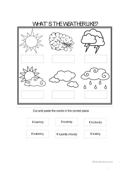 weather conditions worksheet  esl printable