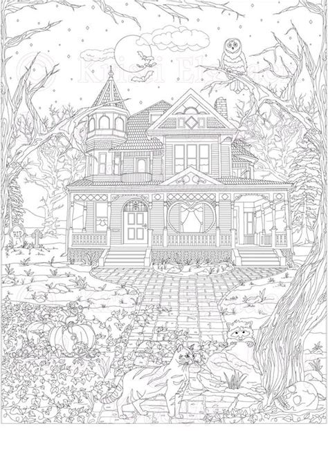 adult coloring page coloring pages digital  haunted