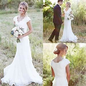 cheap 2017 simple country wedding dresses a line v neck With cheap country wedding dresses