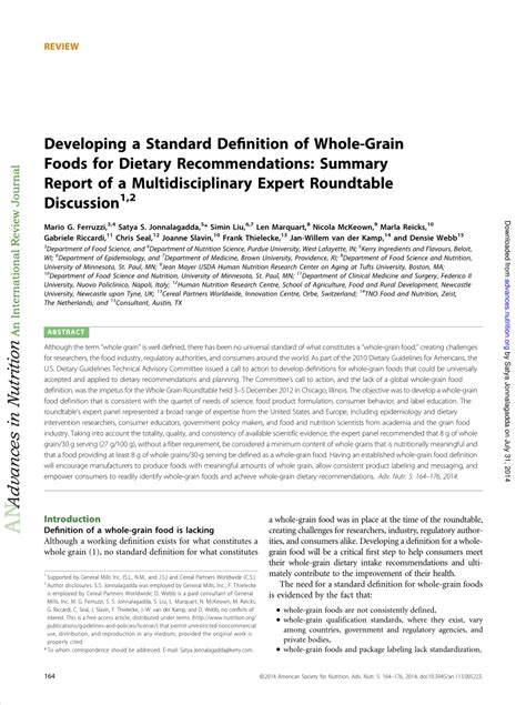 (PDF) Developing a Standard Definition of Whole-Grain