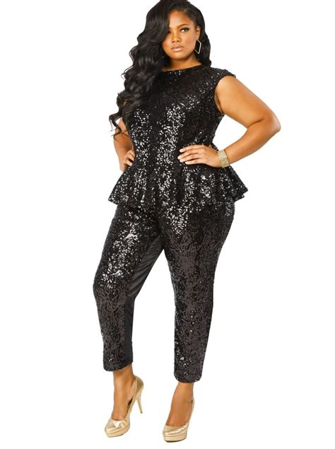 jumpsuit plus size gotta it this sequin peplum plus size jumpsuit from