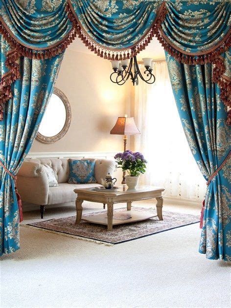Blue Swag Curtains by Blue Lantern Brocade Swag Valance Curtain Set The