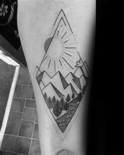 50 Geometric Mountain Tattoo Designs For Men - Geometry