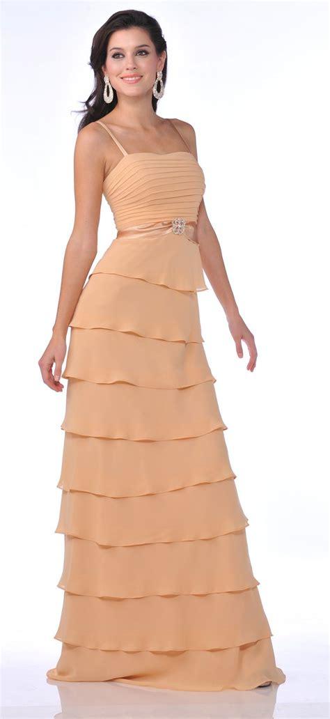 Modest Floor Length Gold Formal Dress Tiered Skirt Layered ...