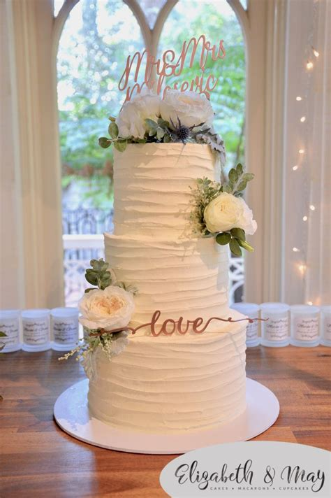 3 Tier White Rustic Wedding Cake With Fresh Flowers