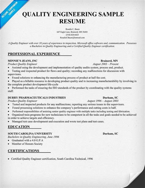 Quality Engineer Resume by Quality Engineering Resume Sle Resumecompanion