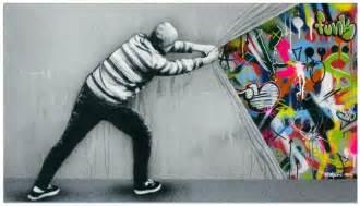 hybrid graffiti black and white stencils bring colorful
