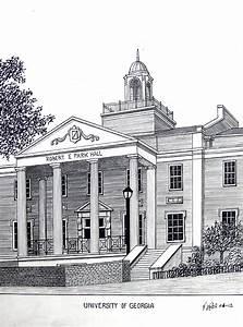 University Of Georgia Drawing by Frederic Kohli