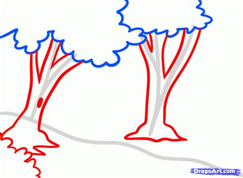 Easy Backgrounds To Draw How To Draw Forests Forest Backgrounds Step By Step