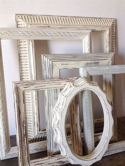 Free shipping on all orders! Empty Picture Frame Set Of 6 Antique White Shabby Chic ...