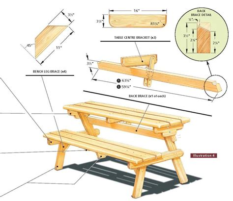 free folding picnic table bench plans pdf free picnic table plans free step by step shed plans