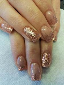 Rose gold/ copper/ accent nail/ acrylic/ glitter fade ...