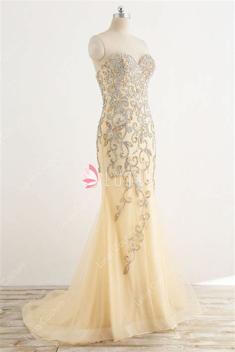 champagne beaded sweetheart mermaid prom dress lunss