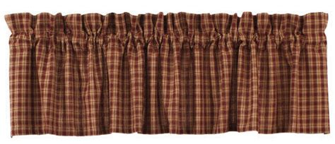 New Primitive Country Sturbridge Burgundy Wine & Tan Plaid Check Curtain Valance Unique Living Room Curtains Sheer Eggplant Colored Curtain Panels Hookless Fabric Shower Liner Of The Tabernacle Arched Window Rods Curved Hooks Types Can You Put Over Blinds
