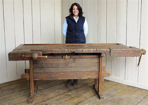 antique woodworking bench   vices  storage box