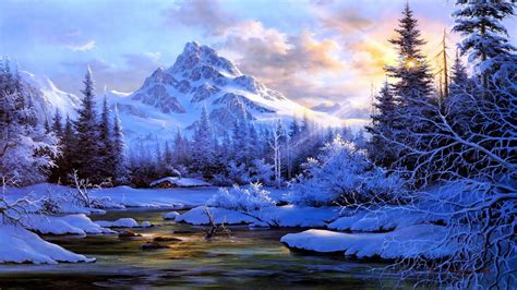 Winter Landscape Background Mountain River Trees Snow
