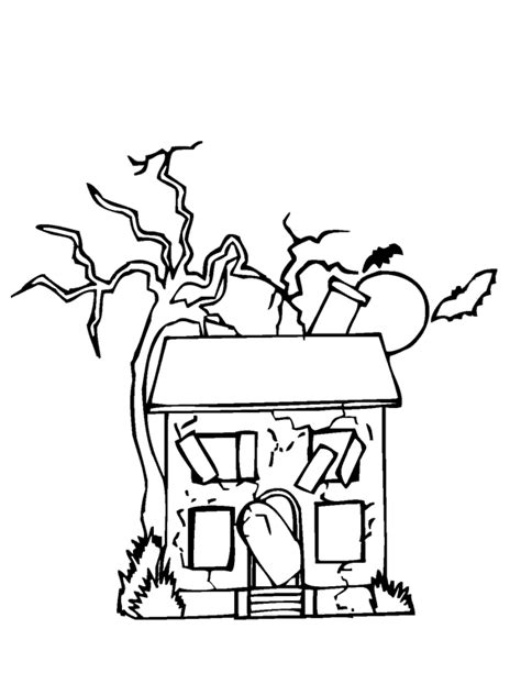 abandoned house coloring page purple kitty