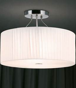 Flush mount ceiling light with fabric shade designs