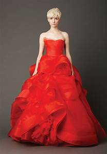Red lace strapless wedding dress with ruffles sang maestro for Wedding dress red