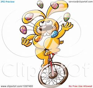 Clipart Talented Easter Bunny Juggling Eggs And Riding A ...