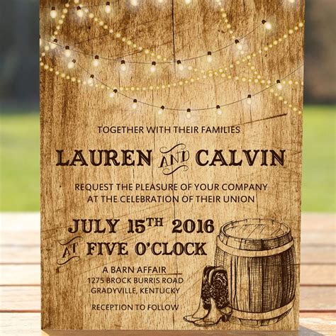 Country wedding invitation with lights cowboy boots and