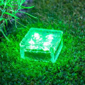 commercial christmas decorations large solar garden path light glass brick 4 green leds