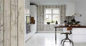 papier peint cuisine 20 exemples deco pour l39adopter With papier peint imitation carrelage cuisine