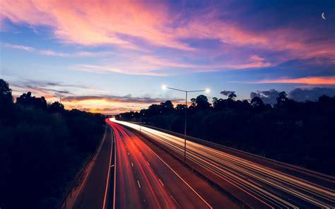 highway night traffic lights long exposure desktop wallpaper