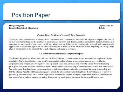 A solid position paper has three parts 1) country's position, 2) country's relation 3) country's proposal Base delegate course_position paper