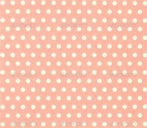 soft pink/red polka dot background (white circles on ...