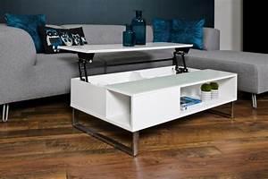 Table Basse Reglable Hauteur : table basse design r glable en hauteur bois laqu blanc ~ Carolinahurricanesstore.com Idées de Décoration