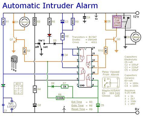 Automatic Intruder Alarm Circuit Diagram