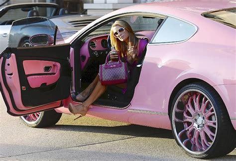 pink bentley paris hilton drives pink bentley to barneys new york in