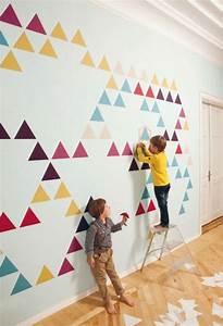 Wände Mit Farbe Gestalten : dreiecken wandgestaltung mit farbe w nde gestalten kinder ~ Lizthompson.info Haus und Dekorationen