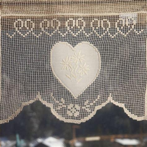 rideau brise bise coton 233 cru 1 coeur et fleurs de montagne les sculpteurs du lac
