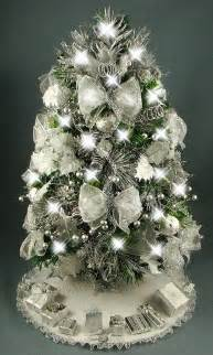 decorated mini tabletop tree silver and white 20
